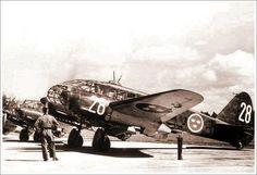 Line up of Caproni Ca.313S of the Svenka Flygvapnet, Swedish Air Force, on a Swedish air base.