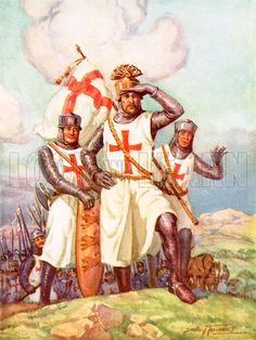 "The Crusaders. King Richard the Lion Heart in the Holy Land. Illustration by Dudley Tennant. The word ""crusade"" comes from the French word for ""cross""."