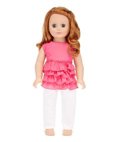 Take a look at this American Fashion World Hot Pink Ruffle Outfit for 18'' Doll today!