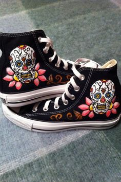 Sugar Skull Converse by DeannaNicoles on Etsy, via Etsy.