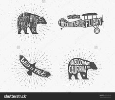Set of Vintage silhouette hand drawn lettering slogans. Retro monochrome animal design with inspirational typography. Bear, eagle, airplane. Motivation text Wild and free background. Sunburst. Vector