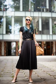 Skinny Buddha black top pleated skirt turquoise hair Mango bucket bag