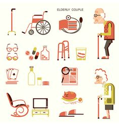 Elderly people and objects for life vector by NPetrushka on VectorStock®