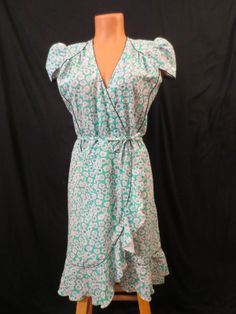 ANAMI & JANINE London - green floral wrap dress - $29.99 at JOHNNY BOMBSHELL #retro #wrapdress #spring