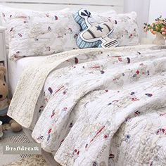Brandream Boys Airplane Print Bedding Set Kids Summer Comforter Set Full Size * You can find out more details at the link of the image.