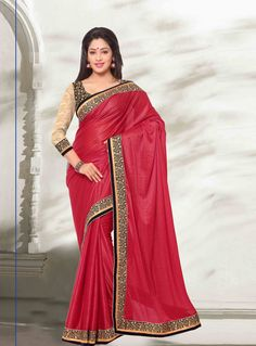 Red Lycra Party Wear Saree 69780