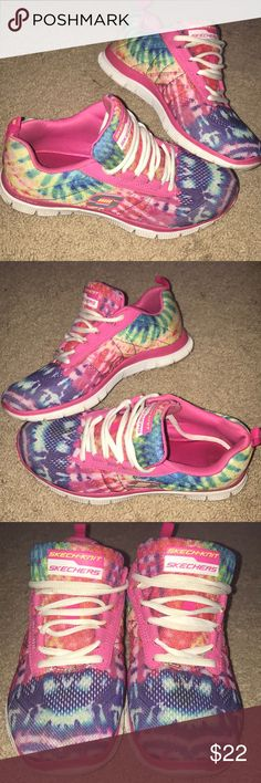 Skechers knit flex sole sneakers gently used Skechers knit flex sole sneakers in a bright rainbow color. they are crazy comfortable with a super cushion sole. i always got compliments wearing these.  no stains or smells & soles are in great shape. Skechers Shoes Sneakers
