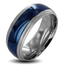 @Overstock - This two-tone stainless-steel wedding band for men is the unique choice when a common yellow band doesn't move you. This band stands out, with a highly polished silver and blue finish and ridged edges that give the band a stylish flare.http://www.overstock.com/Jewelry-Watches/Two-tone-Stainless-Steel-Mens-Ridged-Edge-Wedding-Band/6367831/product.html?CID=214117 $13.39