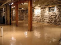 Interior| Cool Remodeling And Ideas For Basement: Wonderful White Stone Wall Basement Ideas Exposed With Teak Wood Column And Beam Also Chic Wood Ceiling Arragement
