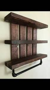 Rustic bathroom shelf w pipe towel rack home and living cottage chic nursery dec. Rustic Bathroom Shelves, Nursery Shelves, Rustic Bathrooms, Vintage Bathrooms, Bathroom Storage, Dark Wood Shelves, Bathroom Essentials, Cottage Chic, Wooden Pallet Projects