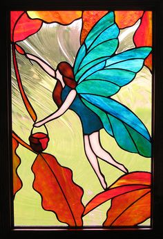 Whimsical Fairy (part two) Stained Glass Window Stained Glass Angel, Stained Glass Paint, Stained Glass Designs, Stained Glass Projects, Stained Glass Patterns, Stained Glass Windows, Mosaic Art, Mosaic Glass, Glass Art