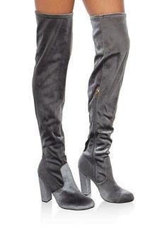Over the Knee High Heel Boots,GRAY VELVET