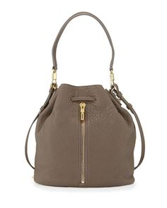 Cynnie Leather Bucket Bag, Koala by Elizabeth and James at Neiman Marcus.