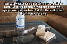 Cleaning (cloth) couch: Spray couch with vodka/EO mix and then rub down with a sponge, then use the bristle brush to lightly fluff the fibers. Roof Cleaning, House Cleaning Tips, Couch Cleaning, Cleaning Recipes, Cleaning Hacks, Clean Couch, Microfiber Couch, Organic Cleaning Products, Laundry Hacks
