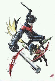 Nightwing and Damian Wayne