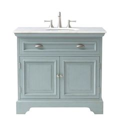 Home Decorators Collection Sadie 38 in. Vanity in Antique Blue with Marble Quartz Vanity Top in White-1666500350 - The Home Depot