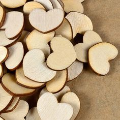 100pcs/set Fashion Unfinished Nature Mini Love Heart Style Wooden Scrap Booking Craft Card Wedding Decorating
