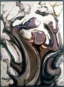 """David Alfaro Siqueiros """"El hechicero"""" 1967 Acrílico sobre madera, dimensiones 81 x 61 cm. LA COLECCIÓN DE MUSEO SOUMAYA"""