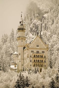 Neuschwanstein Castle, Germany.  Will be going here in exactly one week! Of course it won't be covered in snow!