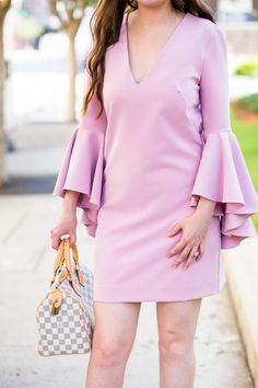 RUFFLE ME PINK WITH BELL-SLEEVES AND STUDS|  Milly dress, milly nicole bell-sleeve dress, christian louboutin wedges, christian louboutin cataclou, summer dress, pink dress, pink bell sleeve dress, silver wedges, louis vuitton speedy 25 azur