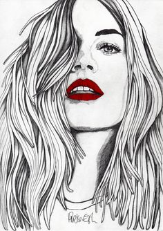 The Girl with the Red Lips Art Print