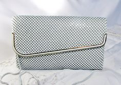 Convertible Clutch White Aluminum Mesh With by SunburyVintageStore