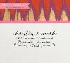 Custom Wood Handle Return Address Rubber Stamp by amberhousley (plus other options/fonts)