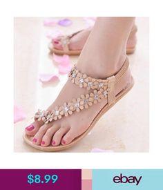 ea167f1d5  8.99 - Summer Women Bohemia Flower Beads Flip-Flop Shoes Lady Beach Flat  Sandals Loafer