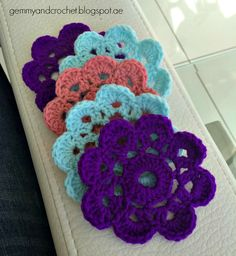 All About Crochet: Free Pattern: Flower Party coaster or small doily motif