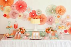 Bridal shower table set up