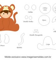 Molde de Animais Baby - Macaco - para EVA, Feltro e Artesanato Felt Patterns, Stuffed Toys Patterns, Felt Crafts, Diy And Crafts, Felt Toys, Paper Piecing, Baby Animals, Baby Pets, Applique