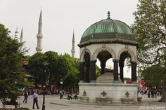 The German Fountain (Turkish: Alman Çeşmesi) is a gazebo styled fountain in the northern end of old hippodrome (Sultanahmet Square), Istanbul, Turkey and across from the Mausoleum of Sultan Ahmed I. It was constructed to commemorate the second anniversary of German Emperor Wilhelm II's visit to Istanbul in 1898. It was built in Germany, then transported piece by piece and assembled in its current site in 1900.