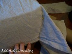 Pleated Drop Cloth Slipcovered Ottoman