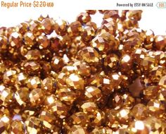 OnSALE 50pcs 4x6mm Copper Crystals 6mm Metallic by FireSwanBeads