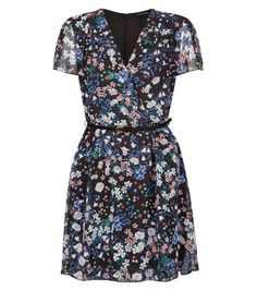 829ca7607c3d45 Black Floral Print Chiffon Wrap Dress
