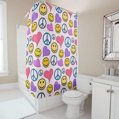 Shop Colorful Soccer Balls Design Shower Curtain created by SjasisSportsSpace. Soccer Inspiration, Custom Shower Curtains, Powder Room, Bathroom Accessories, Peace And Love, Balls, Simple, Pattern, Colorful