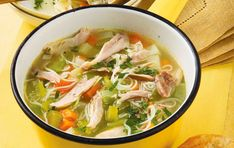A classic homemade chicken broth with chunky vegetables and rice noodles – a healthy, low-fat lunch or dinner. This recipe serves 4 people and will take 1hr in total to make. This broth can be frozen too! #chickennoodlesoup #chickenbroth #lowfatdinners