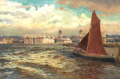 Off Greenwich, London - 1897 | William Henry Bartlett #English, 1858-1932 Medium: Painting - oil on canvas | Location: Touchstones Rochdale Arts and Heritage Centre  (United Kingdom - Rochdale, Greater Manchester)