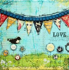 "mixed media ""love is in the air"" tutorial"