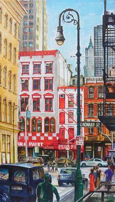 New York,Canal Str.             Pearl Paint művészkellék áruház.                               Akvarell,62cmx42cm