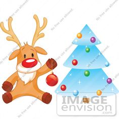 #48318 Clip Art Illustration Of Rudolph Trimming A Blue Icy Xmas Tree by pushkin