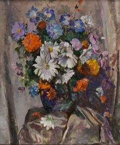 Summer Flowers in a Coloured Vase~ David Alison ~ Thomas Fine Art Colored Vases, Flower Paintings, Summer Flowers, Still Life, David, Fine Art, Paintings Of Flowers, Visual Arts, Fine Art Paintings
