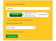VideoSmaller es una práctica herramienta web gratuita para comprimir vídeos online de forma rápida y sencilla. No necesita registro para su uso. Got Map, Software, Online Gratis, Videos, How To Remove, Signs, Google, Shape, Weights