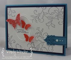 Wickedly Wonderful Creations: Fond Farewell ... Stamps: Creative Elements, Petite Pairs Paper:  Marina Mist, Night of Navy, Calypso Coral, Whisper White Ink:  Night of Navy, Calypso Coral Accessories:  Designer Frames Textured Empressions Embossing Folder, Elegant Butterfly Punch, Bitty Butterfly Punch, Pearl Basics