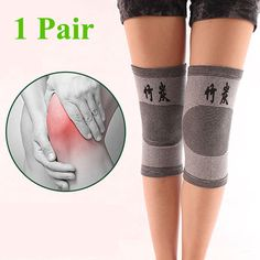 4af30f3fdd [Visit to Buy] 1 Pair Knee Warm Support Brace Leg Arthritis Injury Gym Sleeve  Elasticated Bandage knee Pad Charcoal Knitted Elbow kneePad