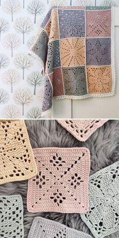 Free Crochet Square, Crochet Square Blanket, Baby Girl Crochet Blanket, Granny Square Crochet Pattern, Crochet Squares Afghan, Crochet Blankets, Crochet Motif Patterns, Crochet Chart, Crochet Hooks