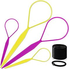 Amazon.com : Topsy Hair Tail Tools, TsMADDTs Hair Braid Accessories Ponytail Maker 4 pcs Topsy Tail Kit French Braid Tool Loop for Hair Styling 10pcs Ponytail Holders : Beauty Braided Bun Hairstyles, Diy Hairstyles, Updo Hairstyle, Wedding Hairstyles, French Braid Tool, French Braids, Messy Bun With Braid, Braided Buns, Messy Buns