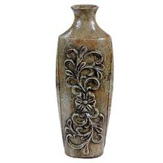 "Ceramic vase with a natural finish and scrolling floral detail.   Product: VaseConstruction Material: CeramicColor: BrownDimensions: 15.5"" H x 5"" W x 4.5"" DCleaning and Care: Wipe clean with a dry cloth"
