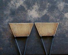 Brass and Sterling Modern Triangle Earrings Art by kathiroussel