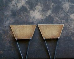 Brass and Sterling Modern Triangle Earrings,